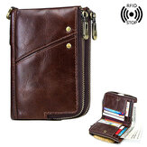 Mężczyźni RFID Antimagnetic Wallet Genuine Leather 12 Slot Kart Vintage Double Zipper Coin Bag