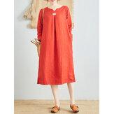 Kadın Saf Renk Pamuklu Keten V Yaka Uzun Kollu Elbise