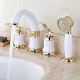 4pcs Banheiro Torneira 2 alças generalizada Banheiro Lavatório Misturador de água Torneira de latão com chuveiro