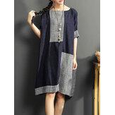 Vintage O-hals patchwork jurk