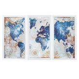 3Pcs Weltkarte Moderne Wandbilder Leinwand Hängende Malerei Home Wohnzimmer Dekoration Ungerahmt / Gerahmt