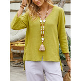 Women V-Neck Solid Color High-LowHem Cozy Casual Blouse
