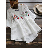 Women Half Sleeve Button Floral Embroidery Vintage Blouse