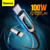 Baseus 100W LED Display USB-C to USB-C PD Power Delivery Cable E-mark Chip Fast Charging Data Transfer Cord Line for Samsung Galaxy S21 Note S20 Iltra Huawei Mate 40 OnePlus 9 Pro for iPad Pro 2020 MacBook Air 2020