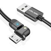 USLION 3A Micro USB 180 Drehen Sie das LED-Anzeigekabel für schnelles Laden für Huawei OPPO