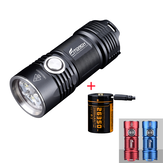 Fitorch P25 4x XPG3 3000LM Powerful EDC LED Flashlight Set with 26350 USB Charging Li-ion Battery IPX8 Waterproof Mini Torch