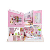1:24 DIY Handmake Assembly Doll House Miniature Furniture Kit with LED Light Toy for Kids Birthday Gift Home Decoration