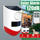 Waterproof LED Solar Alarm Light Wireless Flashing Security Wall Lamp for Outdoor Garden with Remote Control