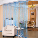 Shiny Tassel Flash Silver Line String Curtain Window Door Divider Colorful Sheer Curtains