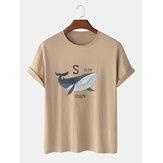 100%コットン漫画サメパターンレタープリント半袖通気性Tシャツ
