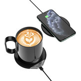 BlitzWolf® BW-WCC1 2 en 1 Calentador de tazas de café inteligente 55 ° C / 131 ° F y cargador inalámbrico Leche Té Calentador de bebidas con taza de 350 ml Almohadilla de carga inalámbrica rápida de 10 W Adaptador QC3.0 de 18 W para teléfonos int