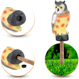 KCASA Realistic Owl Decoy Statue Elbow Owl Bird Pigeon Crow Scarer Scarecrow Simulation Garden Yard Protecter