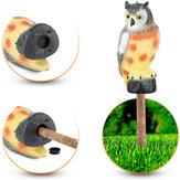 Realistic Owl Decoy Estátua Cotovelo Coruja Pássaro Pombo Crow Scarer Scarecrow Simulação Garden Yard Protecter