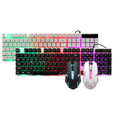 GT300 104 Keys Colorful  Backlight USB Wired Gaming Keyboard And 1000DPI LED Gaming Mouse Set