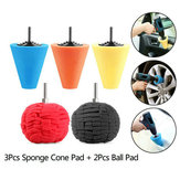 5pcs Burnishing Foam Sponge Polishing Cone Ball Buffing Pad Car Wheel Hub Cleaner Polishing Sponge Set