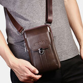 Men Genuine Leather 7 Inch Retro Phone Bag Waist Bag Belt Bag Crossbody Bag Sling Bag