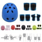 7Pcs/Set Kids Sport Protetive Kit Children Bicycle Helmet + Knee Wrist Guard + Elbow Pad Set For Roller Skating Mountain Road Bike Cycling