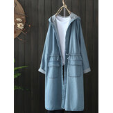 Casual Women Drawstring Long Sleeve Hooded Denim Coats