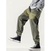 Mens 100% cotone patchwork coulisse in vita elastica Carico Pantaloni con tasca
