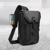 Men Oxford USB Charging Multi-pocket 3 gniazda na karty Wodoodporna zewnętrzna torba Crossbody Torba na klatkę piersiową