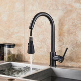 Matte Black Kitchen Sink Faucet Brass Single Lever Pull Out Mixers Hot Cold Water Tap