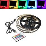1M 2M 3M 4M Водонепроницаемы 5050 RGB светодиодный USB-кабель Light Light заднего освещения Набор + 24Key Дистанционный
