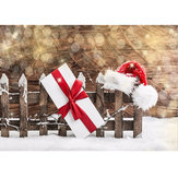 7x5ft Christmas Hat Present Snow Photography Backdrop Photo Studio Background