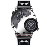 YNFRU Fashionable Men Creative Watch Dual Display Clock Leather Strap Quartz Watch