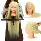 30% Real Hair Long Hairdressing Mannequin Training Practice Head Salon + Clamp