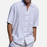 Men Solid Color Single Pocket Linen Revere Shirts