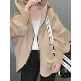 Women Casual Solid Color Zip Front Long Sleeve Plus Size Hooded Jacket