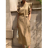 Women Sleeveless Crew Neck Belted Casual Maxi Dress