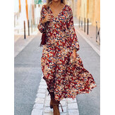 Ditsy Floral Print V-Neck Long Sleeve Loose Casual Holiday Maxi Dress For Women