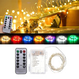 Bateria Powered 5M 50LEDs Waterproof Silver Fio Fairy String Light para Natal + Controle Remoto