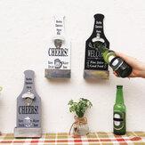 Retro wandmontage houten bieren cola waterflesopener met dopvangers