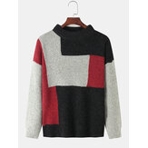 Mens Contrast Color Knitted Round Neck Pullover Sweaters