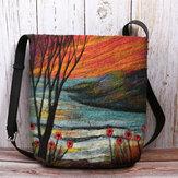 Women Lamb Hair Autumn Natural Scene Colorful DIY Shoulder Bag Crossbody Bag