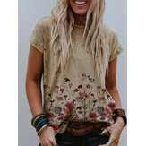 Casual Crew Neck Floral Print Short Sleeve T-shirts