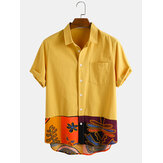 Mens 100% Cotton Patchwork Chest Pocket Breathable Short Sleeve Shirts