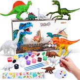 Kit de pintura de dinossauros Pickwoo - pinte seus próprios conjuntos Kids Science Arts and Crafts Sets com 12 cores seguras e não tóxicas, Dinosaur Toys Easter Crafts Gifts Kids Boys & Girls