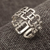 Vintage Geometric Open Ring Punk Roman Numerals Hollow Adjustable Men Tail Ring