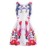 Kid Girls Sleeveless O-Neck Printed Dress