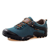Men Sport Mesh Flat Round Toe Lace Up Breathable Mountaining Casual Shoes