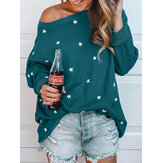 Star Print O-neck Loose Casual Blouse
