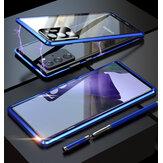 Bakeey para Samsung Galaxy Note 20 / Note 20 5G Caso Magnetic Flip Dupla-face com Lens Protector 9H Vidro Temperado Metal Protetor Full Body Caso