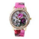 Fashion Bohemia Style Rose Pattern Women Quartz Watch