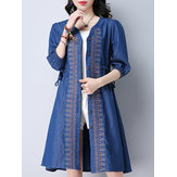 Vintage Women Embroidered V-Neck Button Up Cardigan Denim