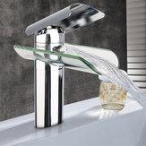 Chromowany mosiądz szkło kran wodospad łazienka kuchnia umywalka zlew bateria umywalkowa