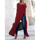 S-5XL Casual Women Side Split Long Maxi Shirts