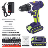3 I 1 Hammer Drill 48VF Trådløs drill Dobbelt hastighed Power Drills LED-belysning 1/2 Stk Batteri med stor kapacitet 50Nm 25 + 1 Moment Elektrisk drill